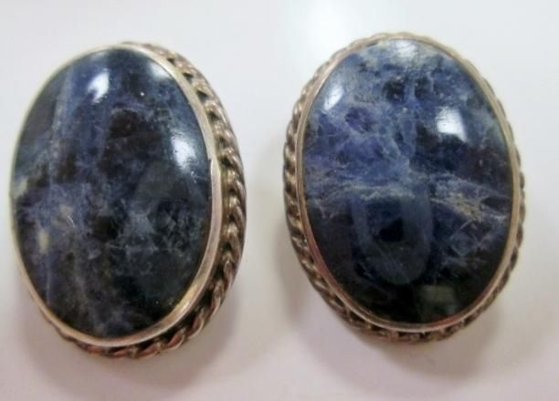 Signed TAXCO 925 STERLING SILVER Dumortierite Stone Earring BLUE MEXICO Statement 16g