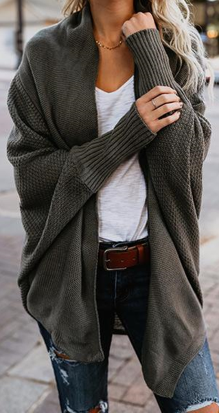 Army Green Oversize Casual Cardigan #cardigans