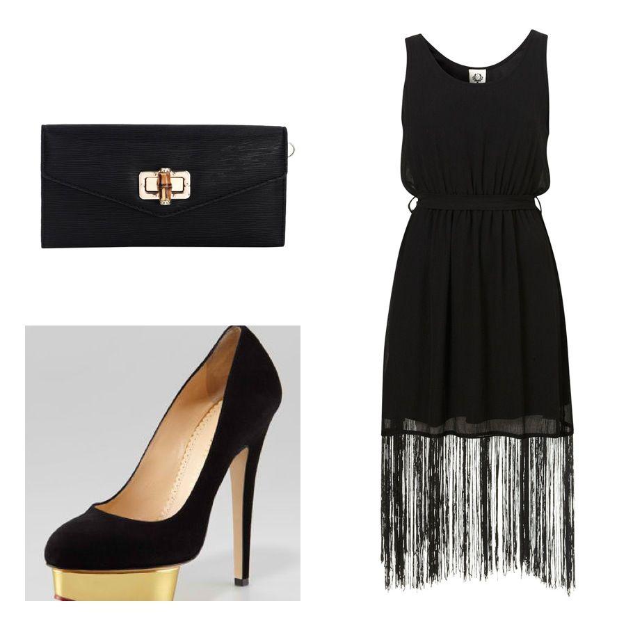 Fringe lbd party dress black and gold code pinterest gold
