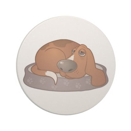 """From the BROOD Zazzle store. Add some basset flair to your home with this sandstone coaster. They measure 4"""" in diameter and have a cork backing. Sales benefit Basset Rescue of Old Dominion. $9.95"""