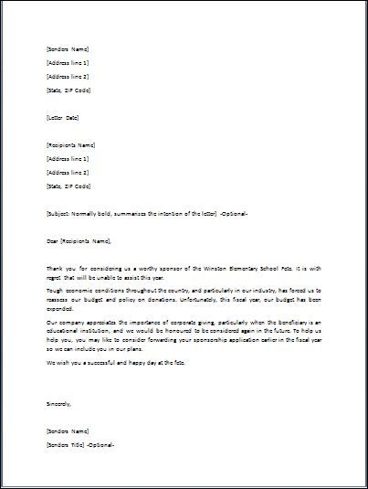 The inform letters are also utilized in business organizations In - rejection letter sample