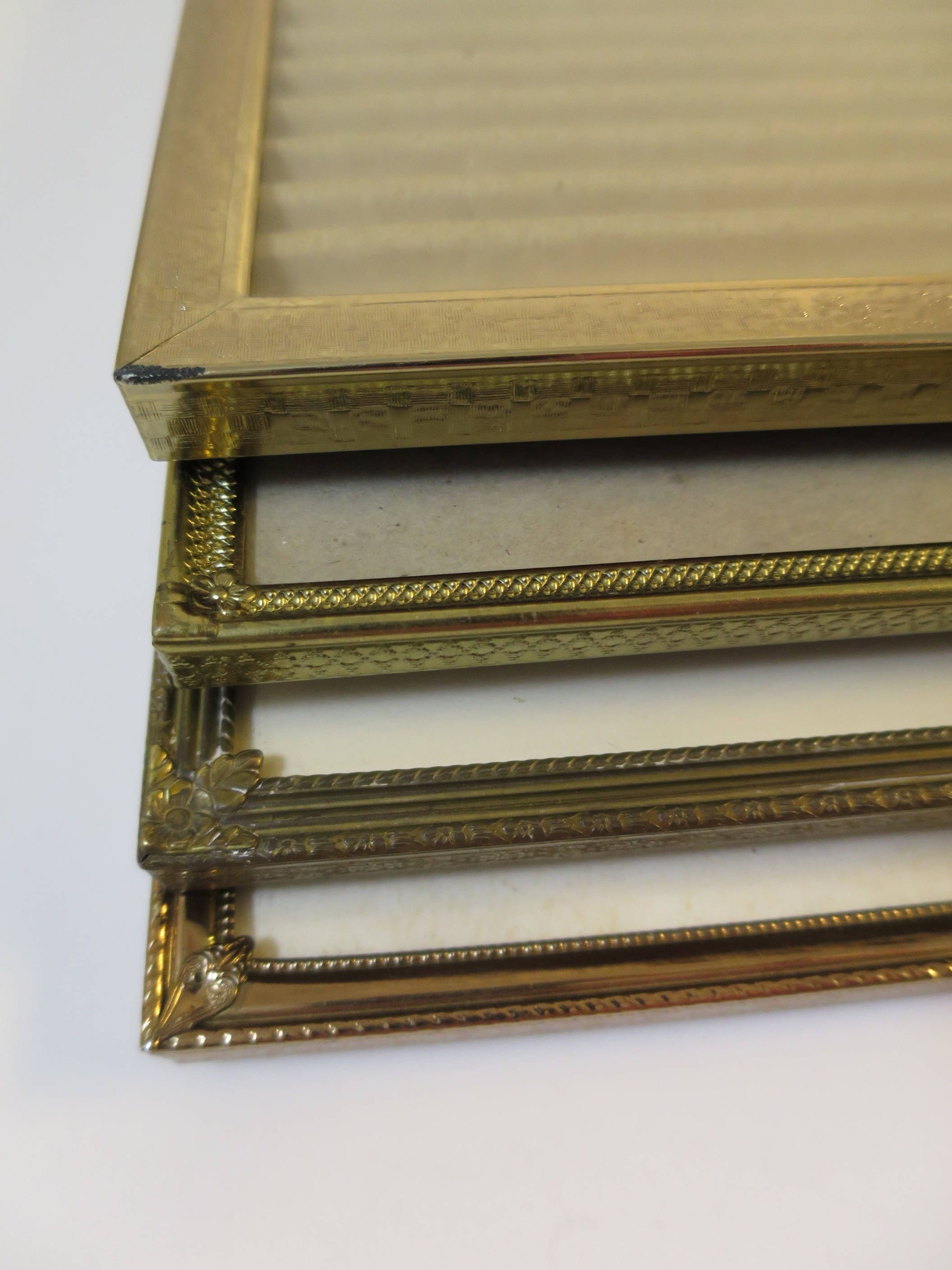 Vintage 4 Metal Photo Frames 8 X 10 Inch Photo Gold Finish Hollywood