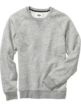 Mens Crew-Neck Sweatshirt - Heather Light Gray - Size M - Old Navy