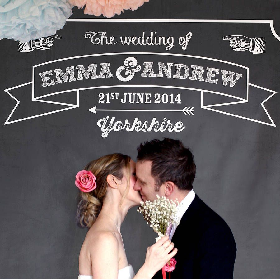 Personalised Chalkboard Wedding Backdrop From Notonthehighstreet