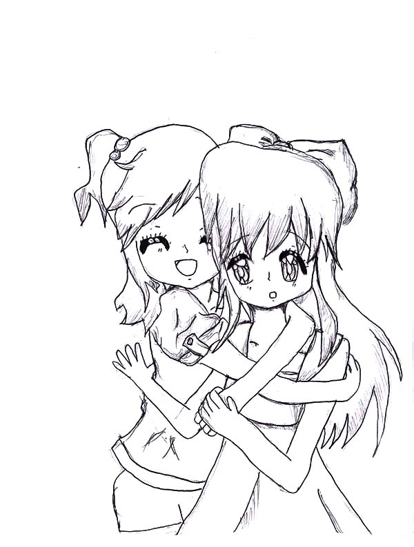 Hug My Best Friends Tight Coloring Pages Best Place To Color Best Friend Drawings Drawings Of Friends Cartoon Coloring Pages