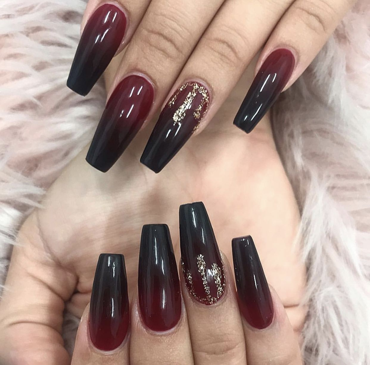 Black and Red Ombré coffin nails in 2019