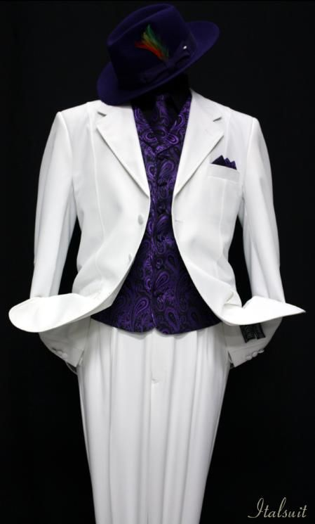 SKU#VZ9901 White-Purple 3pc Fashion Zoot Suit $210 Tuxedos ...