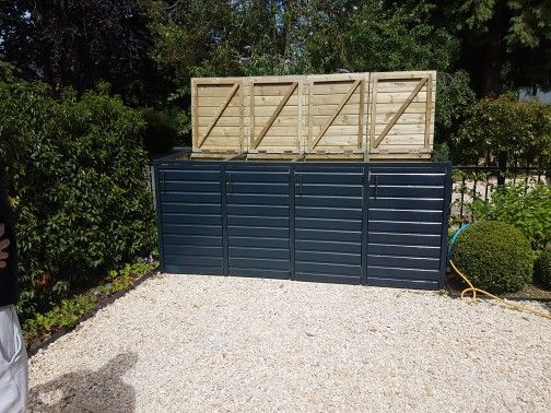 4 Bay Wheelie Bin Store In Farrow And Ball Railings Bin Store Outdoor Decor Outdoor Storage Box