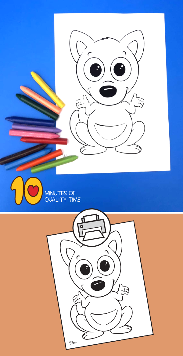 Kangaroo Coloring Page 10 Minutes Of Quality Time Pinterest