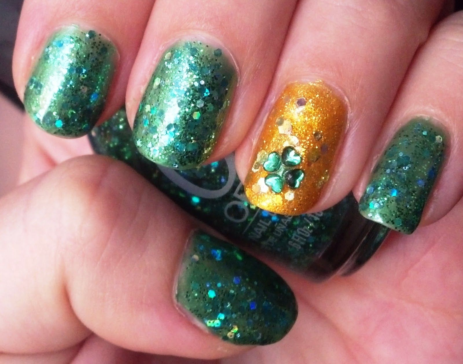 Four Leaf Clover Rhinestone Nails   Nail Art - St. Patrick\'s Day ...