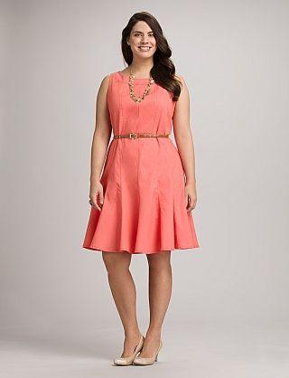 Plus Size Coral Denim Dress in 2019 | Dresses, Pink plus ...