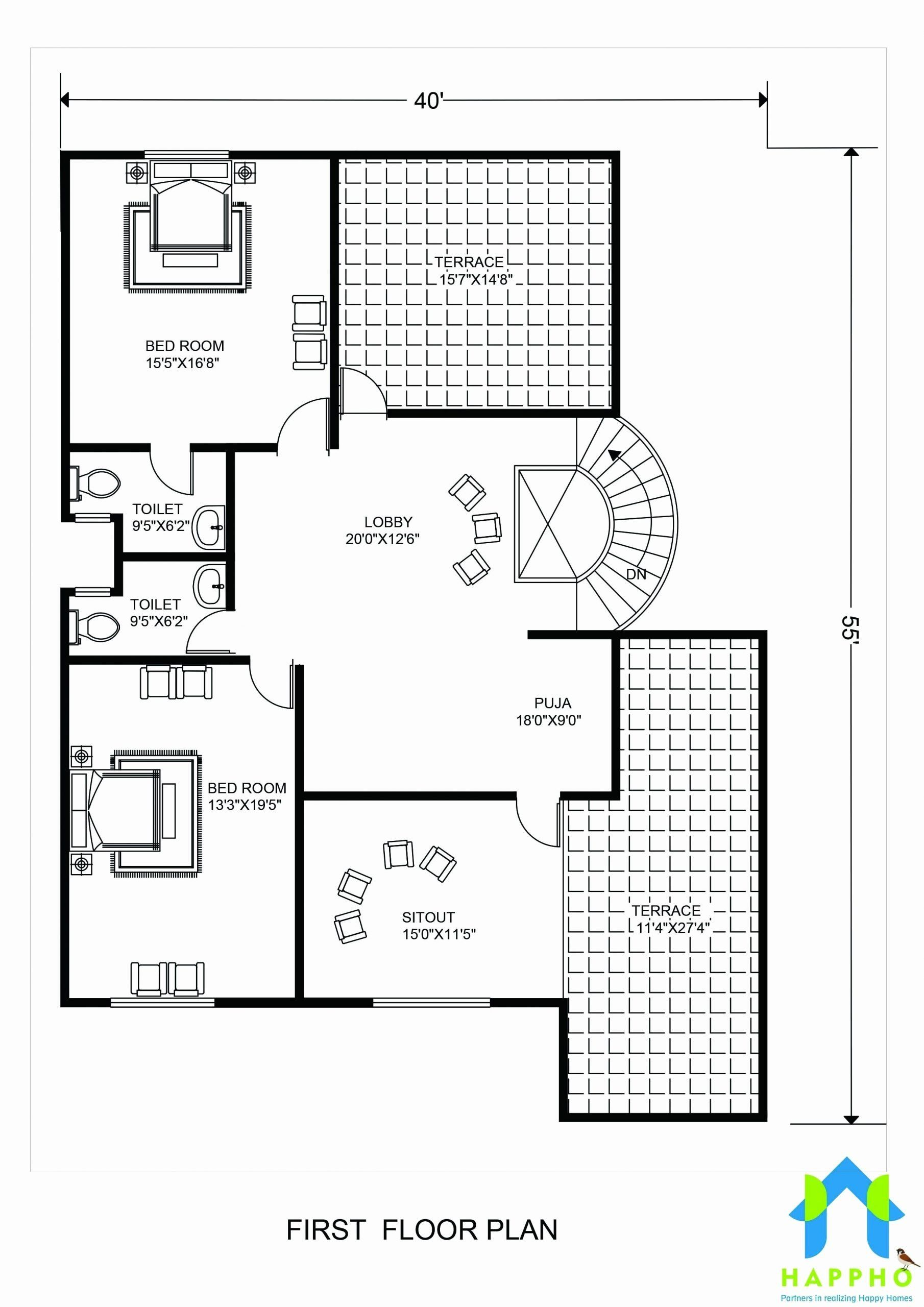 2200 Square Feet Home Design New Floor Plan For 40 X 55 Feet Plot Unique Floor Plans 2200 Sq Ft House Plans Luxury Floor Plans