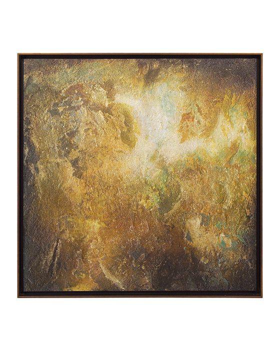 Anne B. Schwartz's original oil, Golden Beryl, reflects veins & tonality of raw beryl stone.