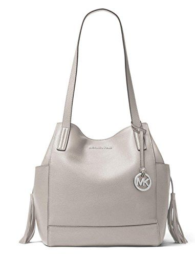 c7446c2f6028 Michael Michael Kors Ashbury Large Leather Grab Shoulder Bag in Pearl Grey