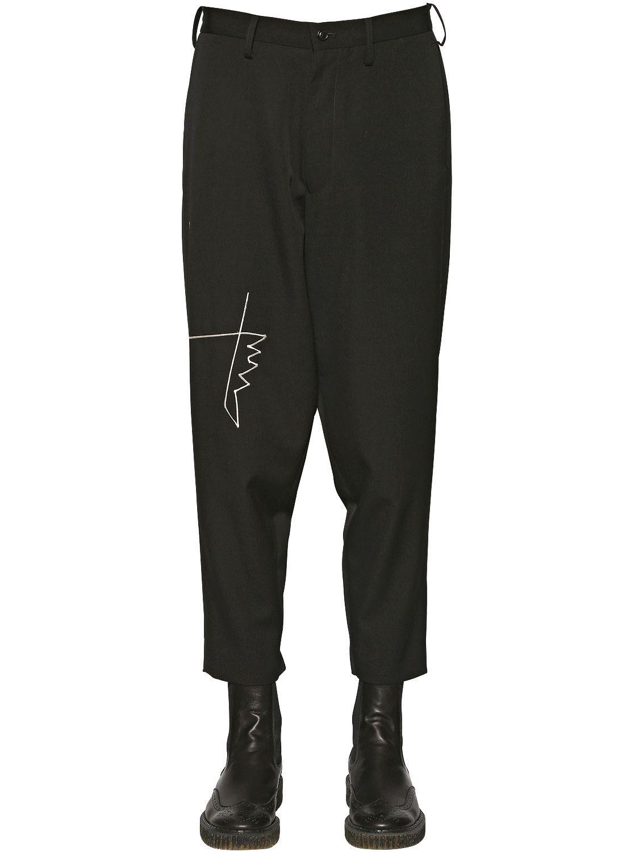 de27ef7935f3d YOHJI YAMAMOTO EMBROIDERED DETAIL WOOL PANTS BLACK MEN CLOTHING ...
