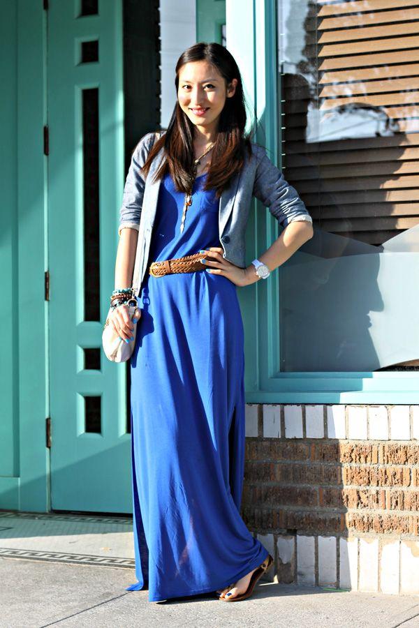 Royal blue Maxi dress & Denim blazer