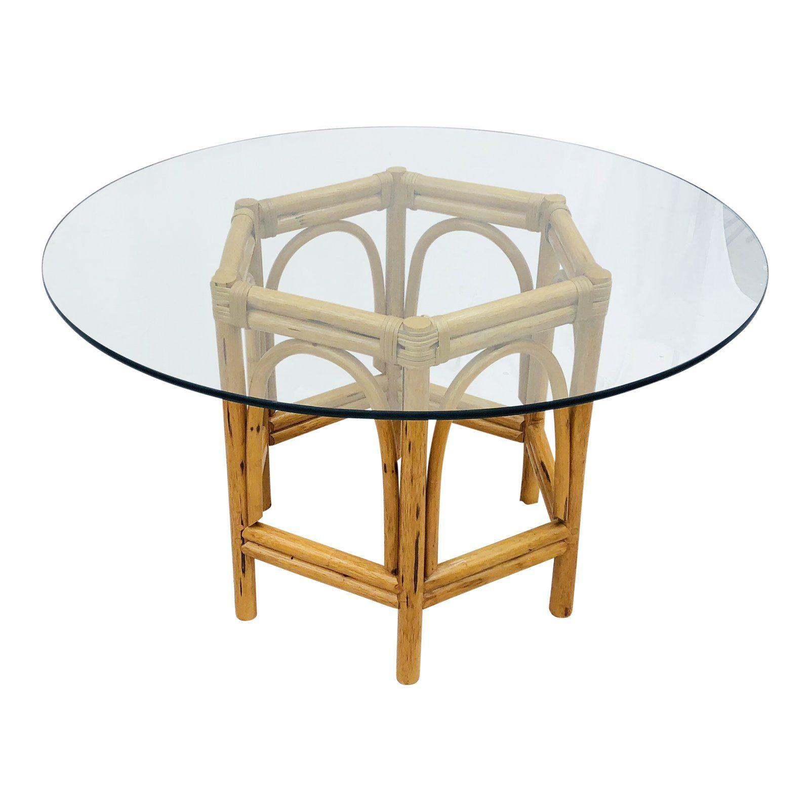 Vintage Bent Rattan Glass Table Glass Top Dining Table Glass Table Glass Dining Table