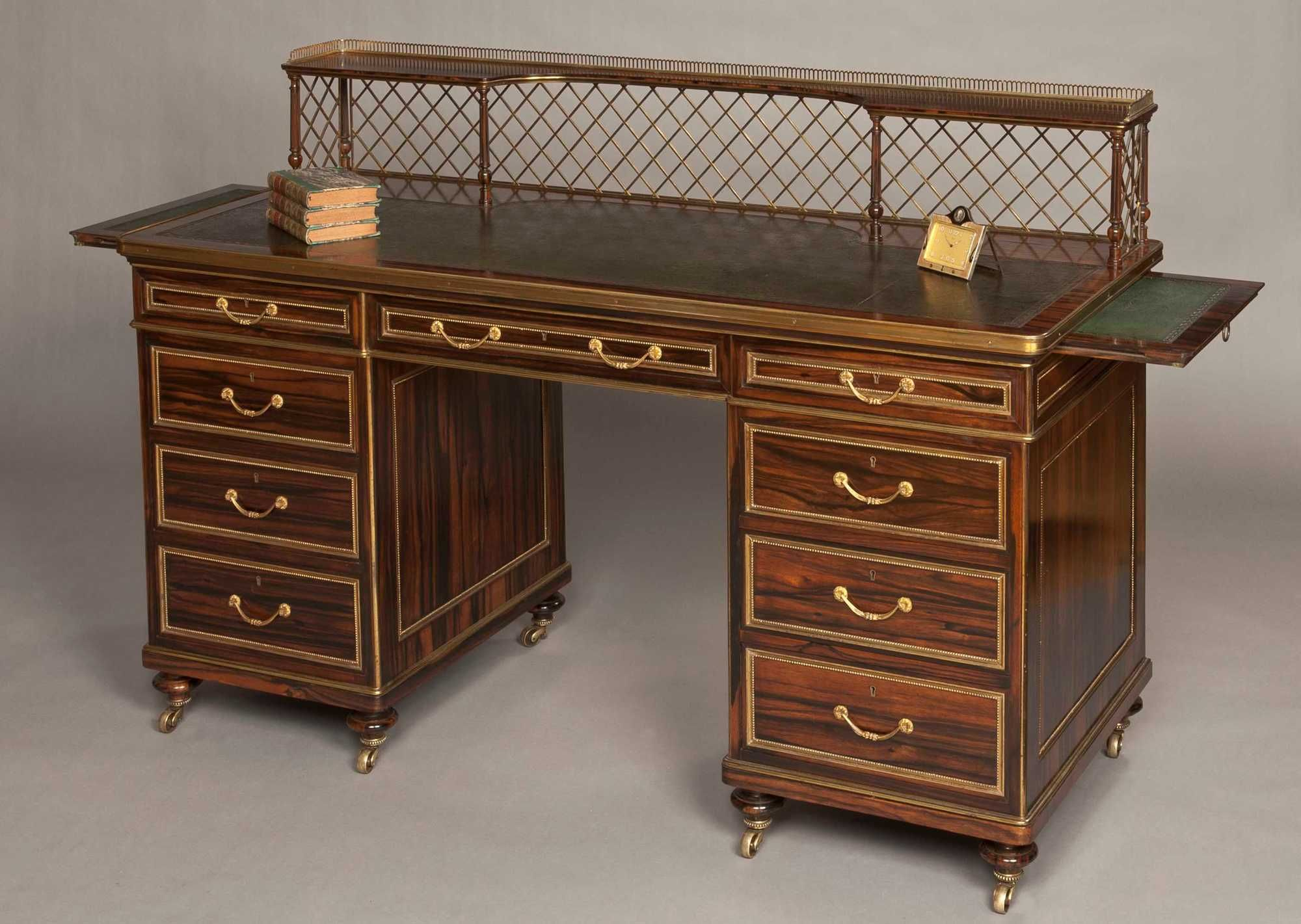 A Very Fine Writing Desk Firmly Attributed To Wright U0026 Mansfield  Constructed In Coromandel, With