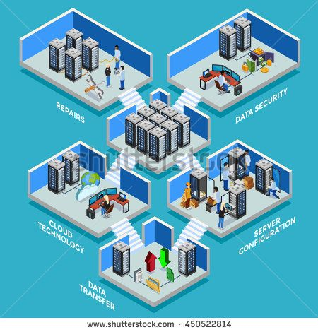 Datacenter isometric concept with data security server room data