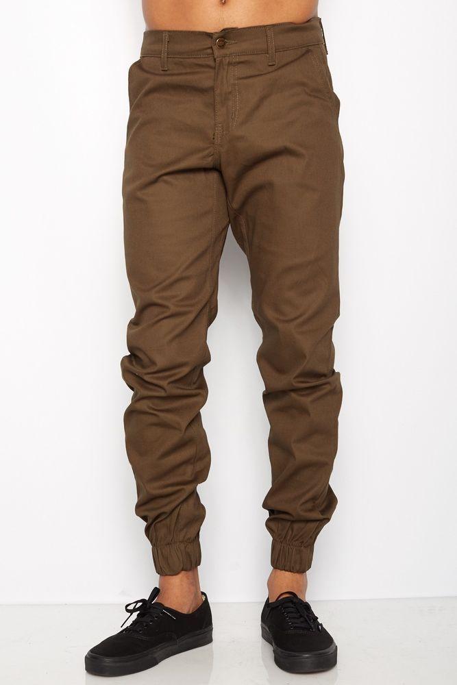 Mens Olive Dark Green Jogger Heft Brand SignatureTwill Pants