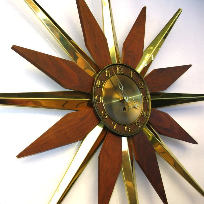 mid century phinney walker starburst sunburst clock then again