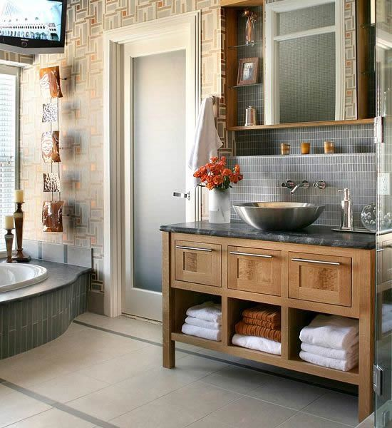 Nice 10 Stylish Colored Bathrooms: Modern, Sleek Combinations
