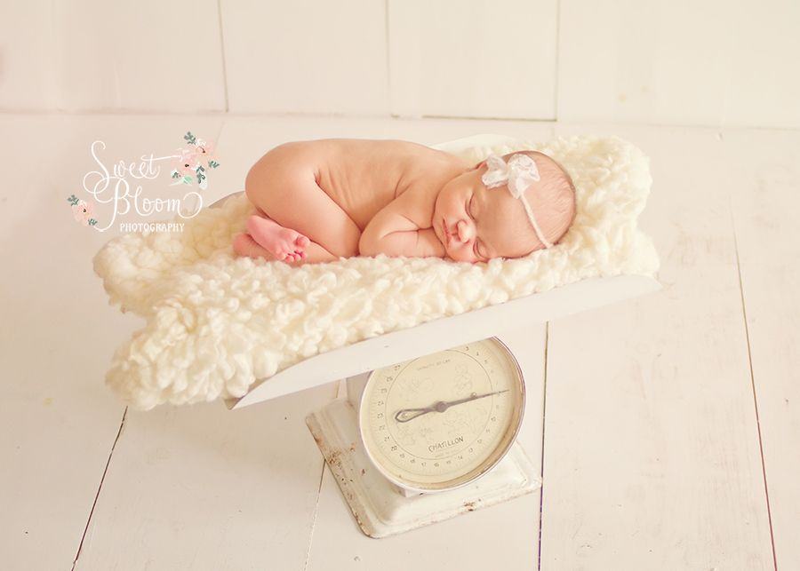 Dayton ohio newborn photographer antique baby scale