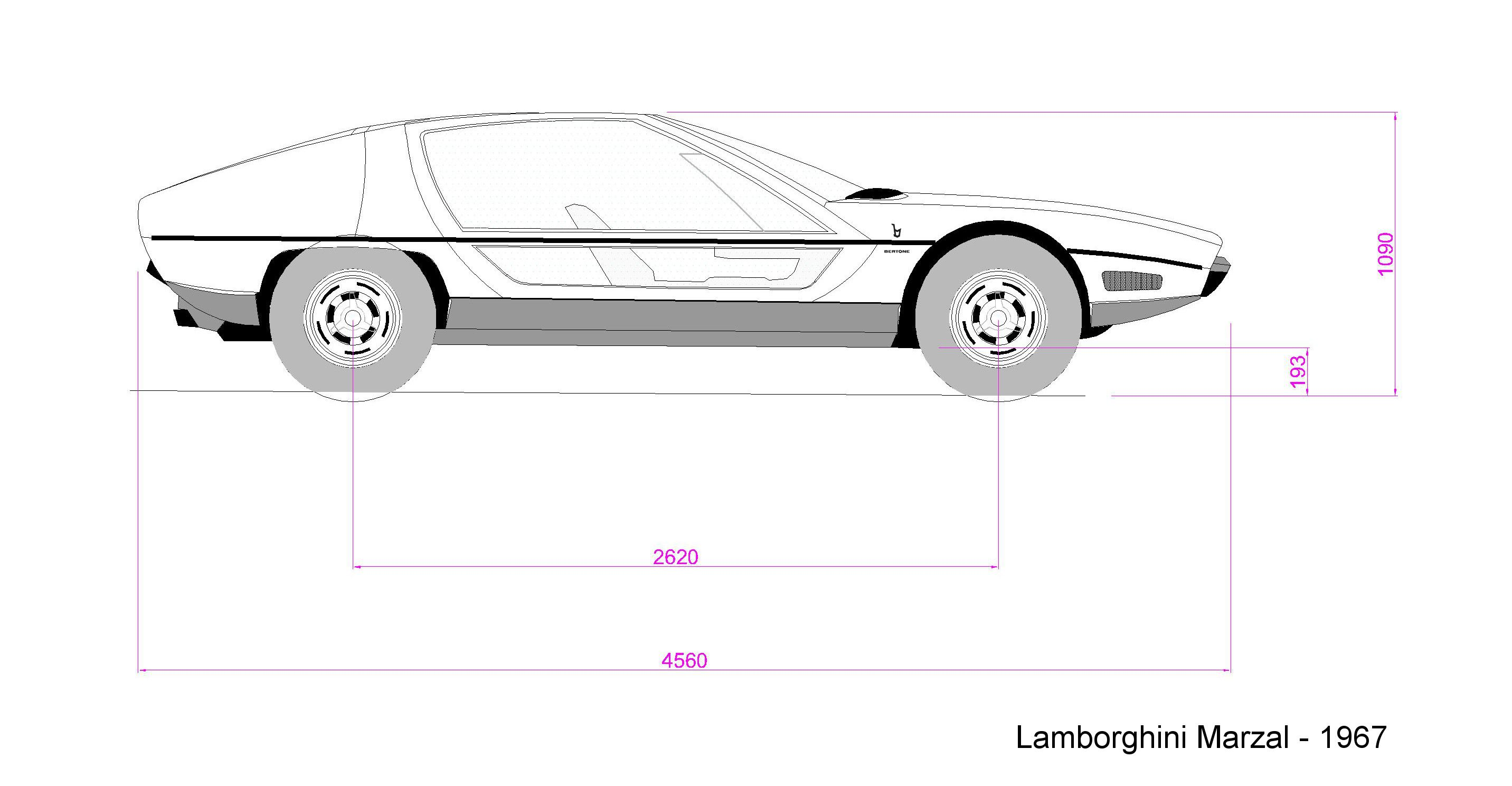 #LamborghiniMarzal; #Bertone; #marcellogandini; #cardrawing