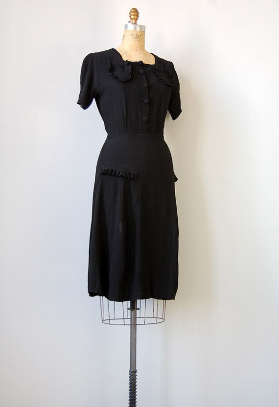 Vintage 1940s Black Dress Much Ado About Nothing Dress Adored