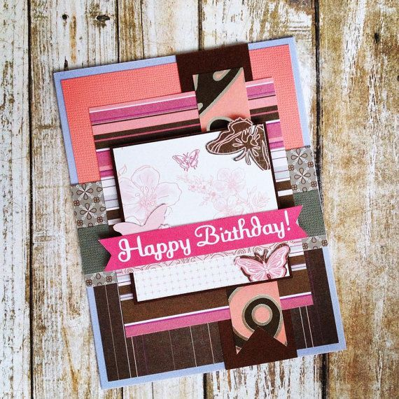 Butterfly Birthday Card Layered Scrapbook By Birthdaycardcentral