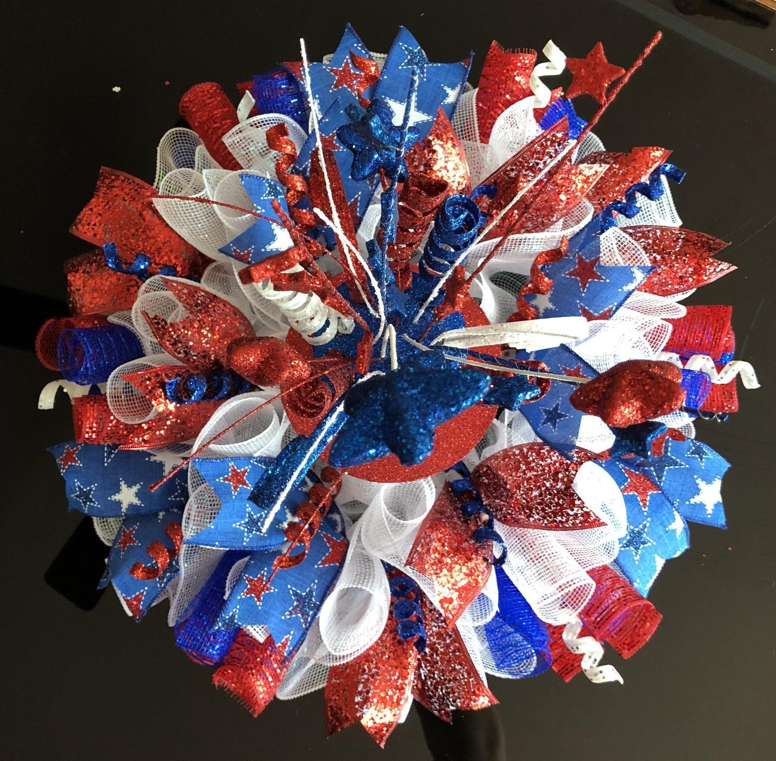 20 patriotic4th deco mesh centerpiececandle holdercake