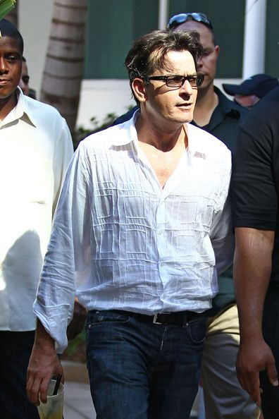 87ddd8839fac9 Actor Charlie Sheen the star was spotted wearing a pair of Persol  sunglasses