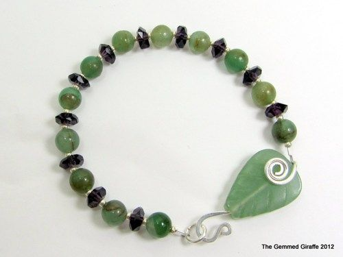 Green Aventurine Leaf Clasp on #Handmade Bracelet with Green Aventurine Rounds and Amethyst Faceted Rondelles | TheGemmedGiraffe - Jewelry on ArtFire