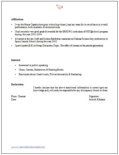 Resume Declaration Format Icard Ibaldo Co