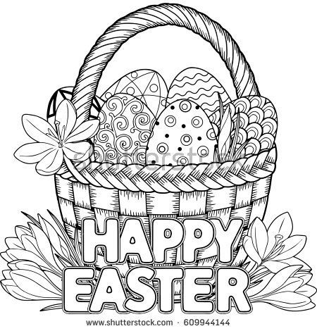 Happy Easter Black And White Doodle Easter Eggs In The Basket Coloring Book For Adults For Easter Coloring Book Easter Bunny Colouring Easter Coloring Pages