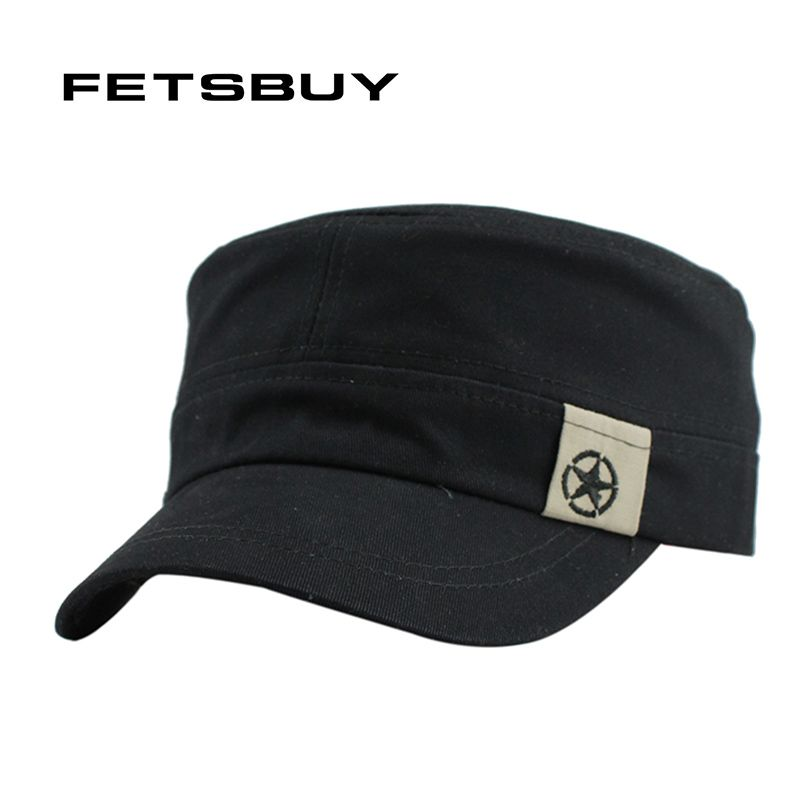 8cb58ec3382 FETSBUY Classic Vintage Flat Top Mens Caps And Hat Adjustable Fitted Cap  Warm Casual Star Military