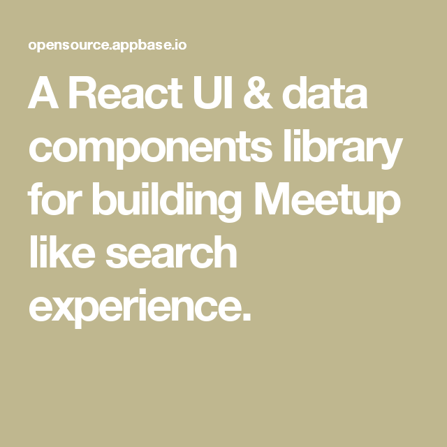 A React UI & data components library for building Meetup