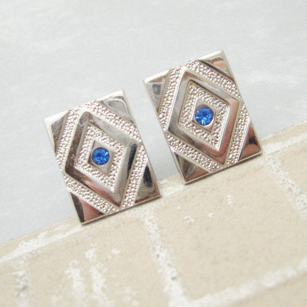 Rhinestone cufflinks vintage mens jewelry swank accessories menus