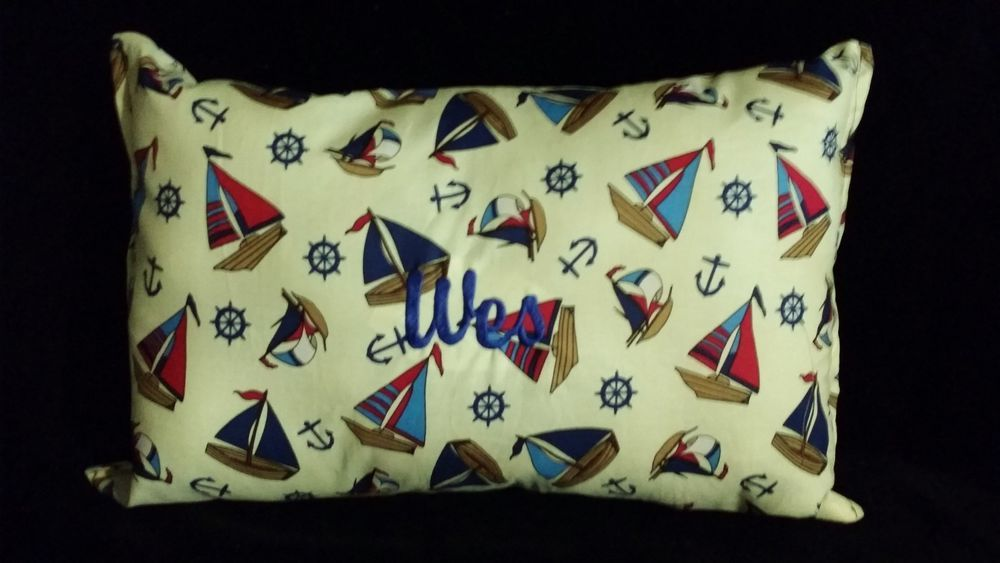 New Personalized Pillow Cuddle Travel Sailboats Anchors Nautical Boys Girl 11x17 #HandCrafted