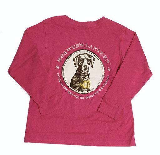 Brewer's Lantern, Youth Henley Logo Long Sleeve T-Shirt, Pink, S