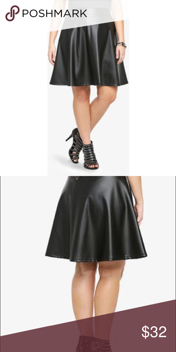 057efb4844e7 Torrid•Faux Leather Circle Skirt This sexy faux leather skater skirt has a  fabulous fit and flare giving it amazing movement. With an exposed back  zipper, ...