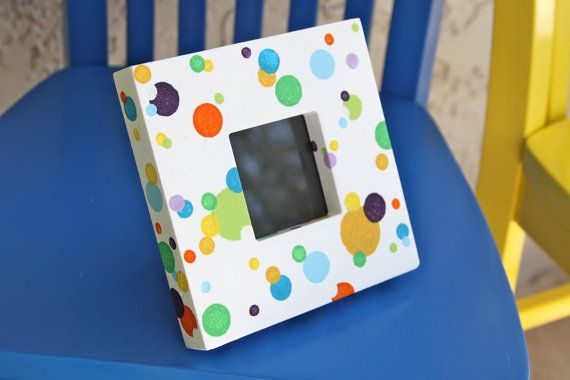 Colorful Dot Square Frame by ColorsbySherri on Etsy, $25.00