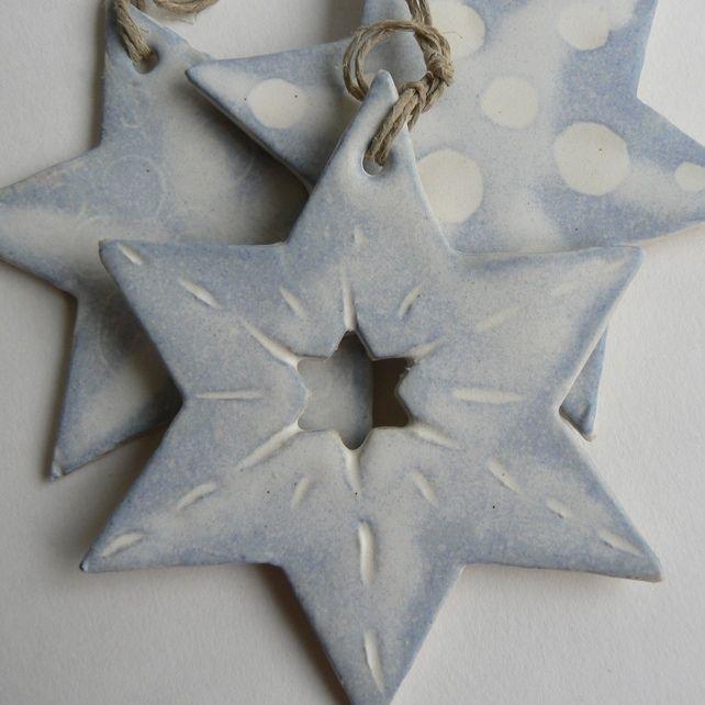 Handmade Ceramic Star Decorations for Christmas A Handmade