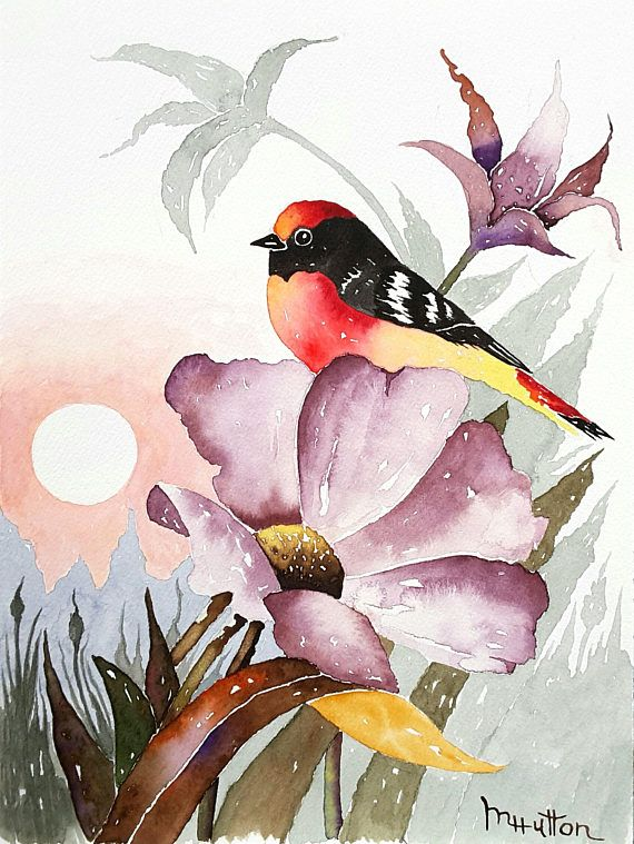 Original Bird And Flower Watercolor Painting Birds Flowers Art