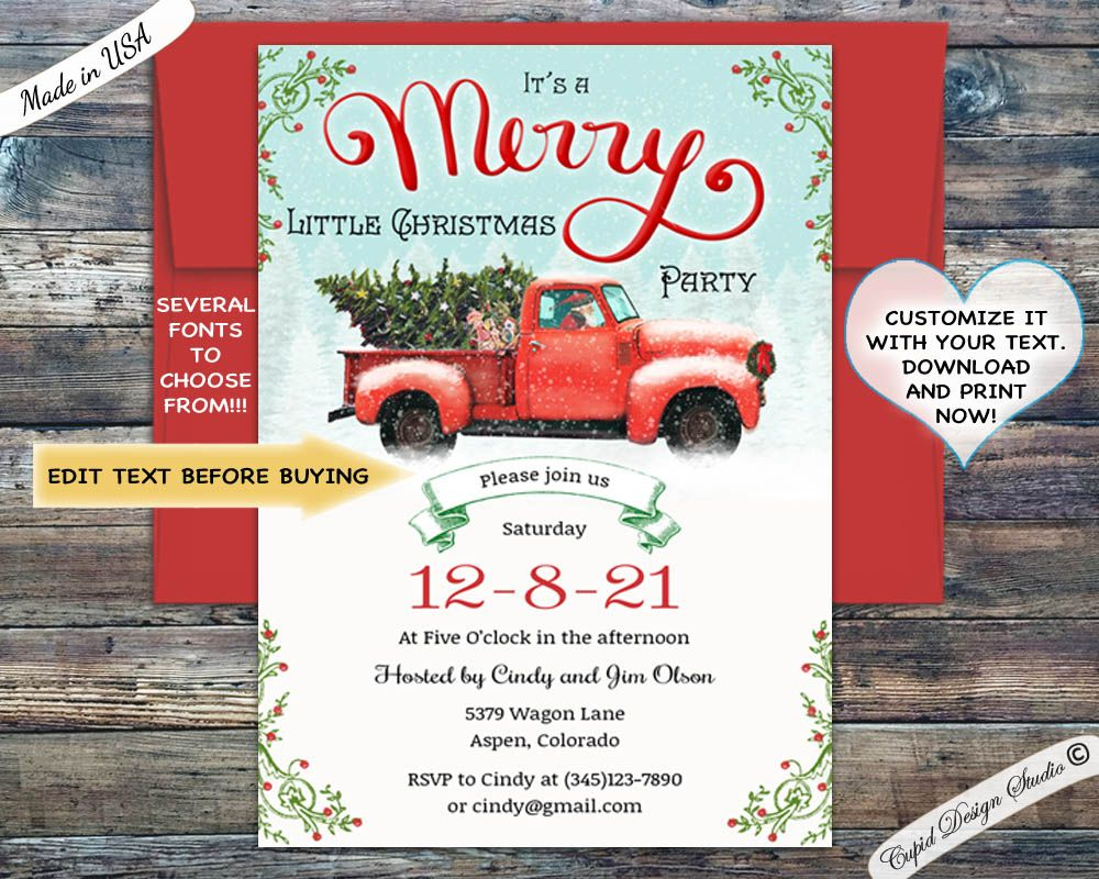 Vintage Red Truck Christmas Invitation Merry Christmas Social Invitation Templates Editable Cupid Design Studio Christmas Invitations Holiday Invitations Digital Invitations