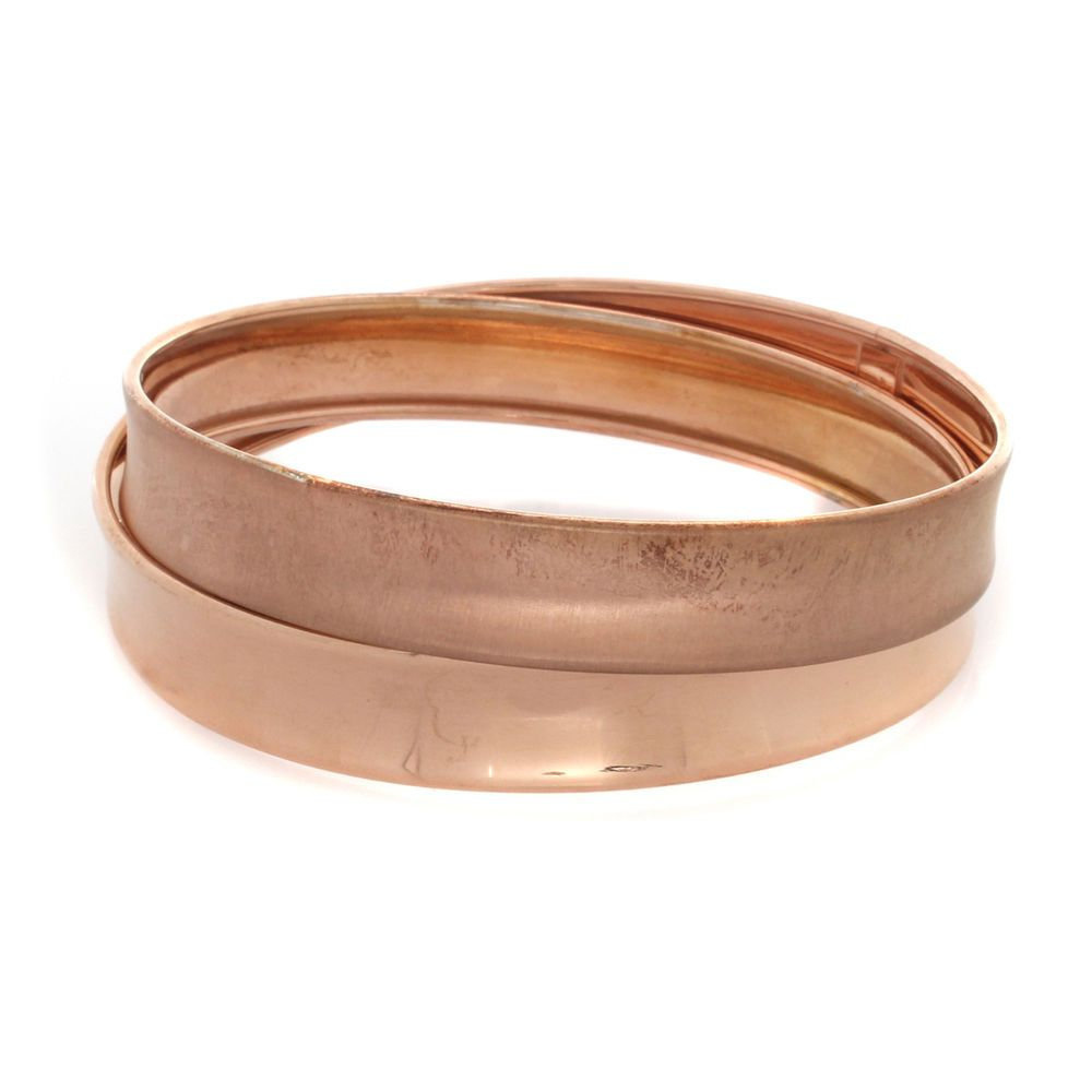 Vicenza Silver 18k Rose Gold over Sterling Large Cross-Over Round Bangle $400 #VicenzaSilver #Bangle