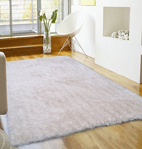 """RUG ADDICTION Soft like Feathers Solid White Shaggy Plush Bedroom Area Rug, Handmade Measuring at 4' ft. x 5'4"""" ft. Rug Factory Plus http://www.amazon.com/dp/B00T57RY3K/ref=cm_sw_r_pi_dp_F.vmvb0047FX7"""