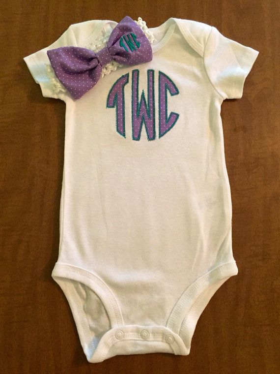 Baby Monogrammed Onesie with Matching Bow Headband by Zaltique
