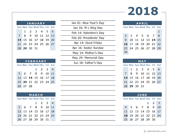 2018 Calendar Template 6 Months Per Page Free Printable News To Go