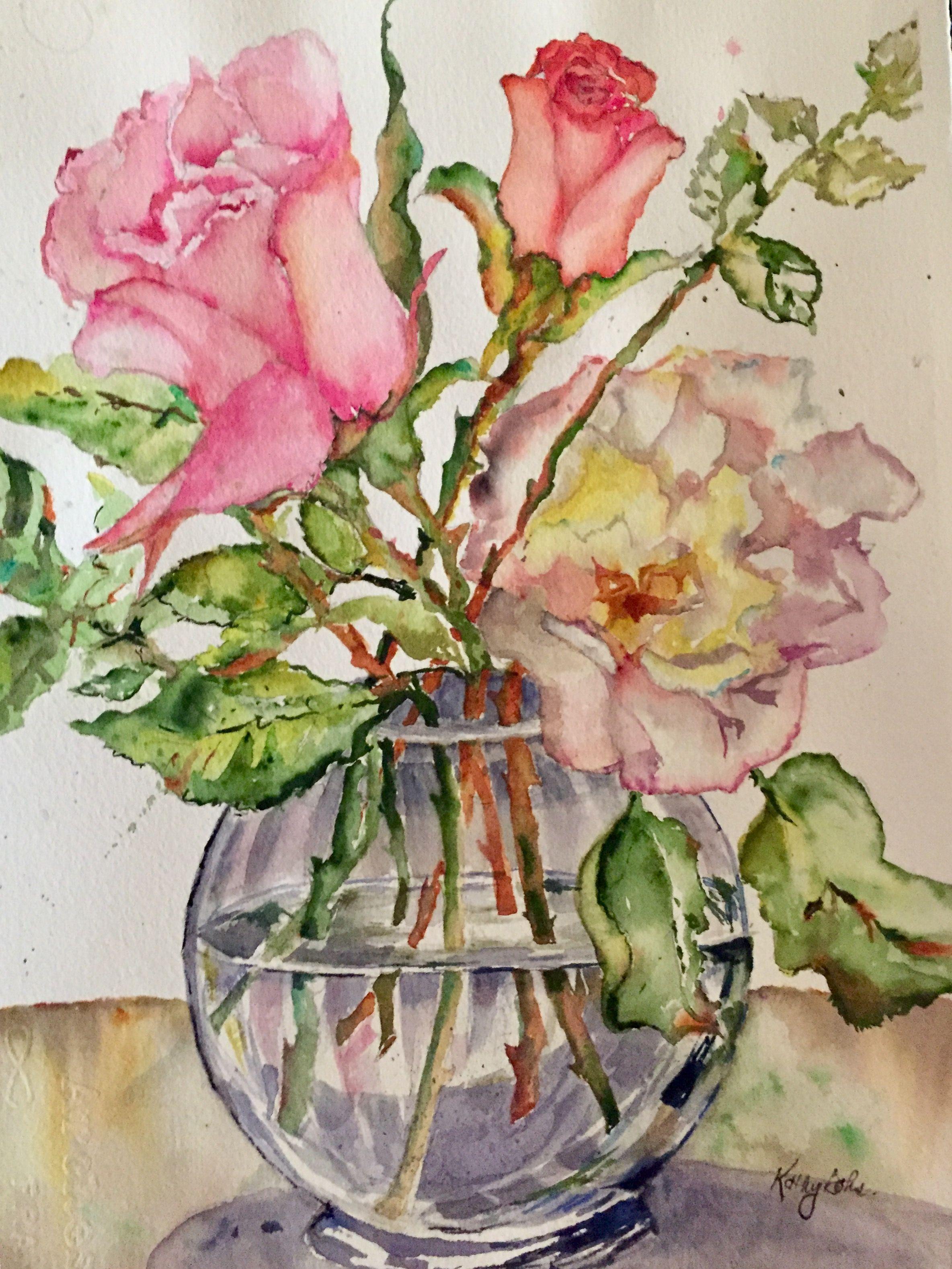 Watercolor Painting Roses